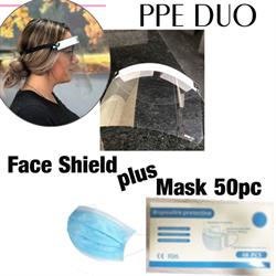 PPE Duo, Face Shield & 50pc Face Masks